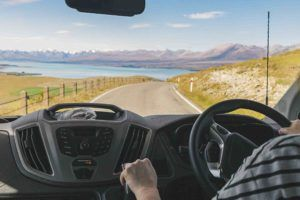 Cheap campervan hire New Zealand - driving in Tekapo